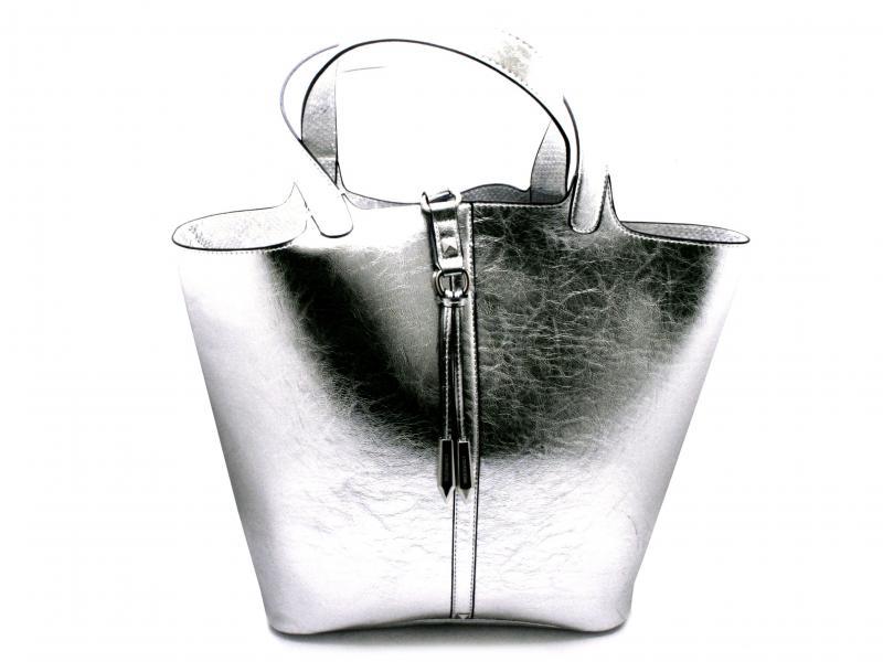 BDB830 ARGENTO Borsa donna Cafenoir shopping doubleface con busta con zip e tasca interna