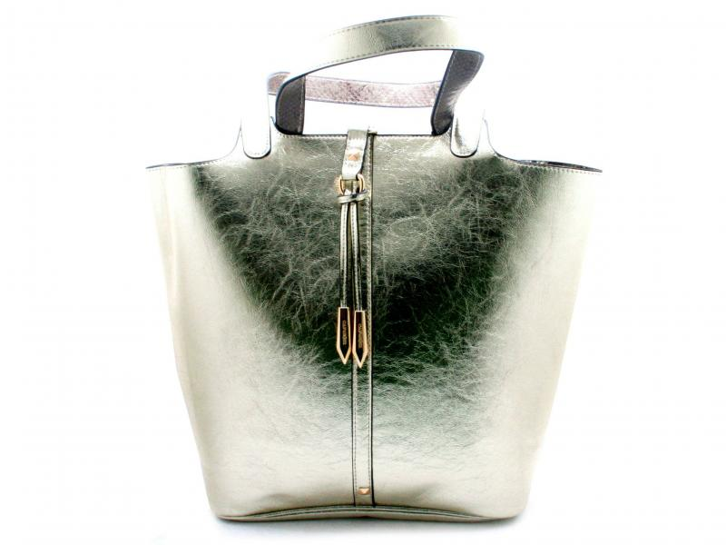 BDB830 PLATINO Borsa donna Cafenoir shopping doubleface con busta con zip e tasca interna