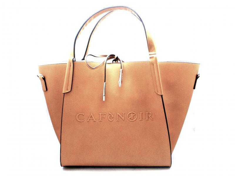 BAZ130 SENAPE Borsa donna Cafenoir shopping logo rilievo busta grande e tracolla removibile