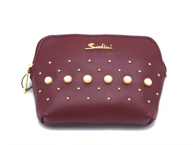 B28003T RUBINO Borsa donna  Pochette Portanecessaire Sodini con borchie e perle