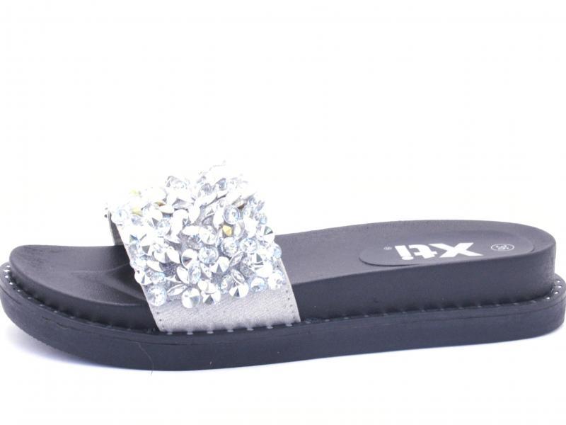 47961 PLATA Scarpa donna Xti ciabatta fascia strass nero argento