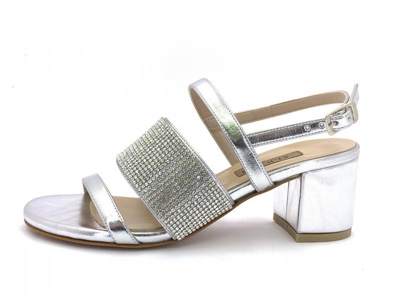 Largo Tacco Scarpe Sandalo Argento 2222 Fondo Elegante Albano Donna SMGzVLqUp