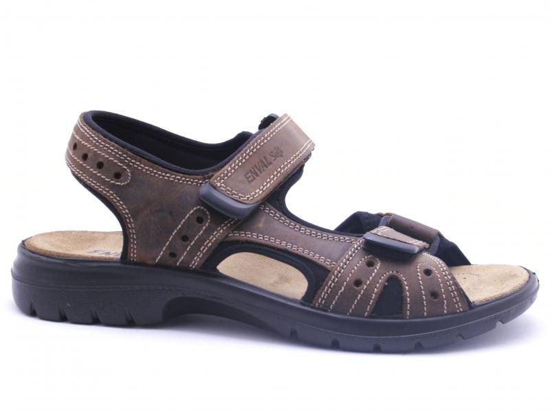 3247422 FANGO Scarpa uomo Enval Soft sandalo pelle con strappi marrone