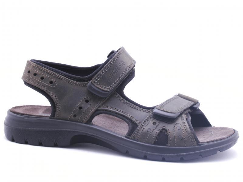 3247433 GRIGIO SCURO Scarpa uomo Enval Soft sandalo pelle con strappi made in Italy