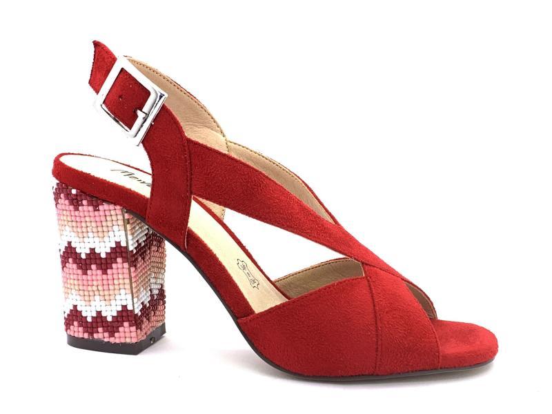 2047976 ROSSO Scarpa donna sandalo Menbur tacco largo con conteria incrocio rosso