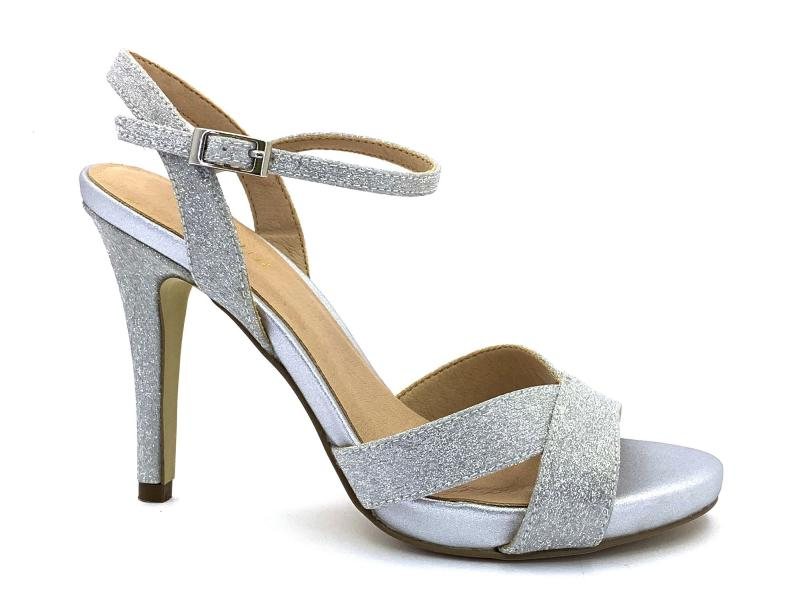 2031209 ARGENTO Scarpa donna tacco plateau Menbur sandalo elegante argento
