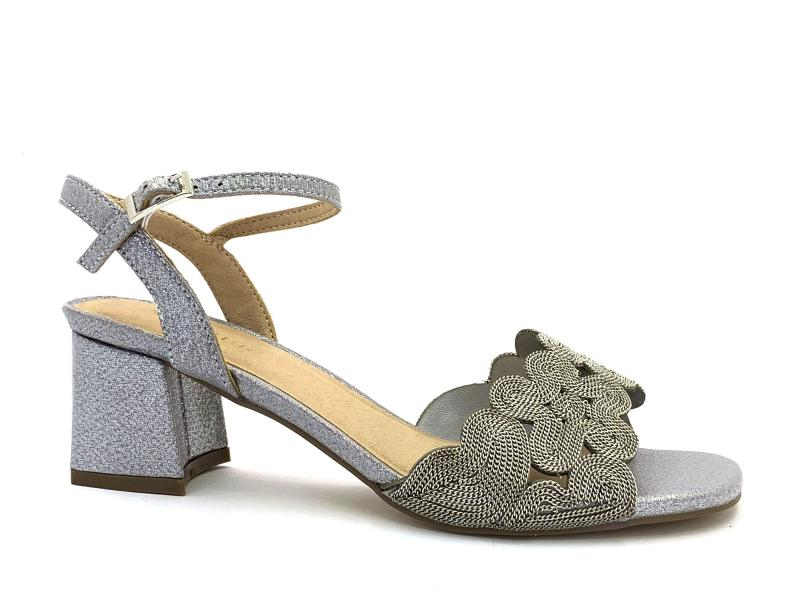 2029209 ARGENTO Scarpa donna sandalo Menbur tacco largo cinturino caviglia