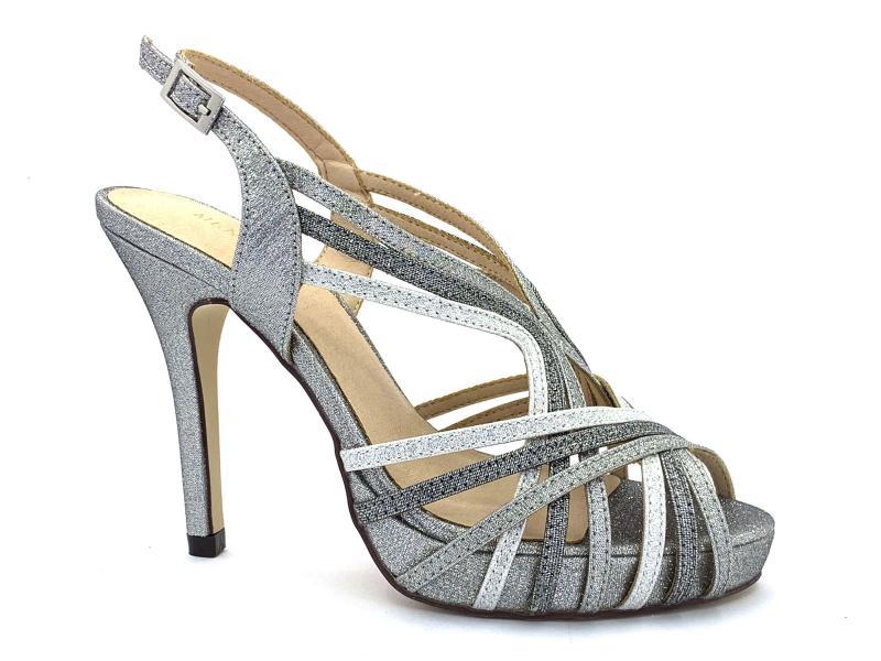 795509 ARGENTO Scarpe donna sandalo elegante Menbur tacco plateau