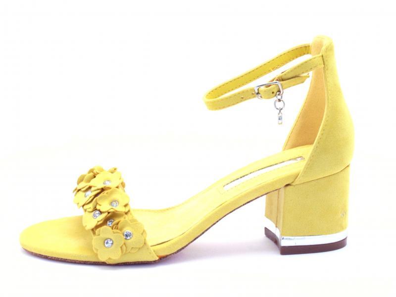 32032 AMARILLO Scarpa donna Xti Tentations sandalo giallo tacco largo cinturino caviglia