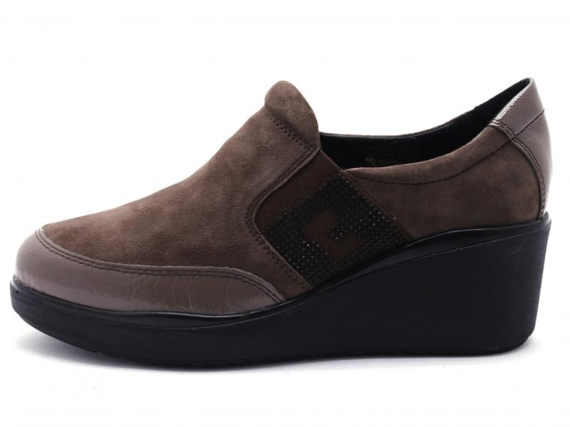 IV11808-PKS003 TAUPE VISONE Scarpa donna Cinzia Soft sneaker slip-on zeppa pelle