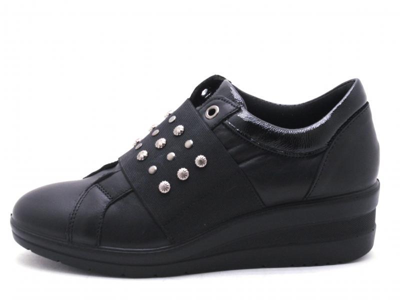 4269800 NERO Scarpa donna Enval Soft sneaker slip-on zeppa pelle made in Italy