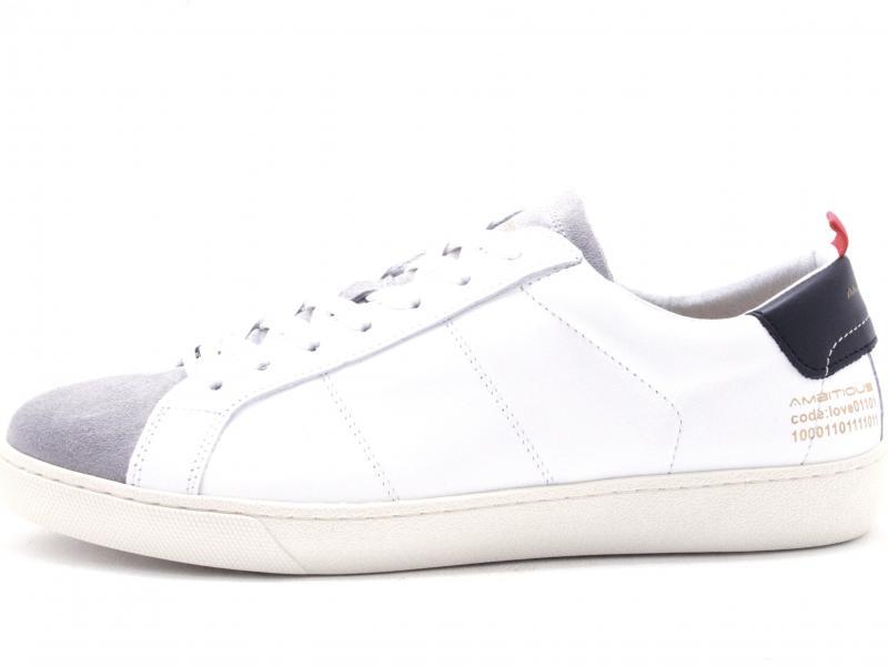JUST8102 GREY Scarpa uomo Ambitious sneaker pelle bianco