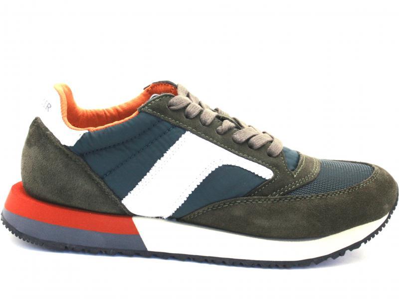 PB620 VERDE SCURO Scarpa uomo Cafenoir sneaker running in tessuto e crosta suola multicolor