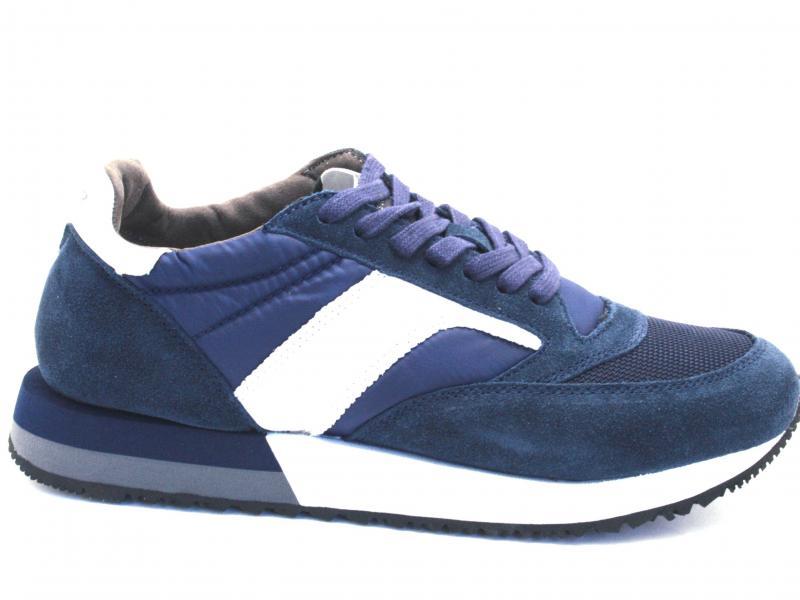 PB610 BLU Scarpa uomo Cafenoir sneaker running tessuto e pelle