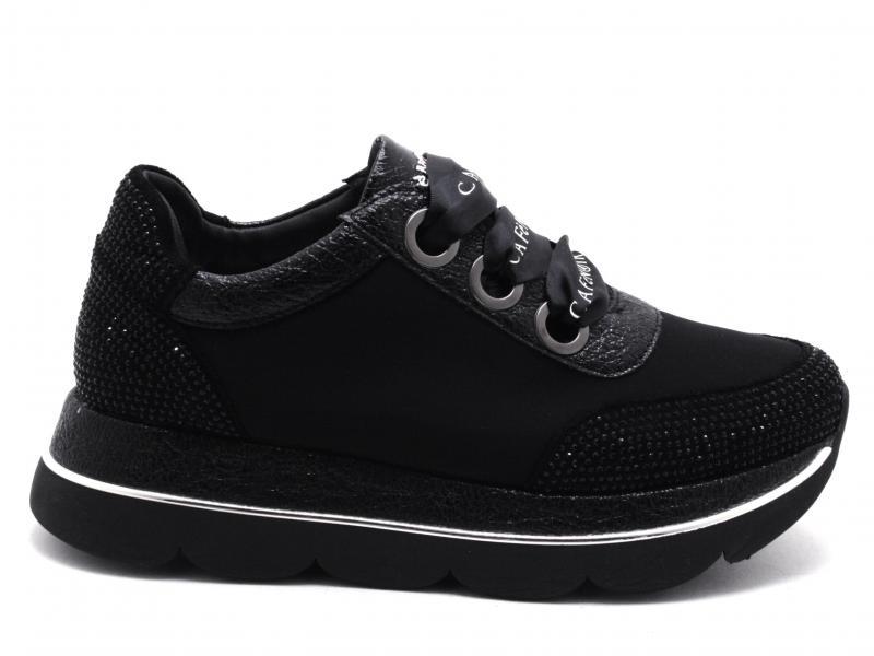 DB964 NERO Scarpa donna Cafenoir sneaker allacciate microstrass