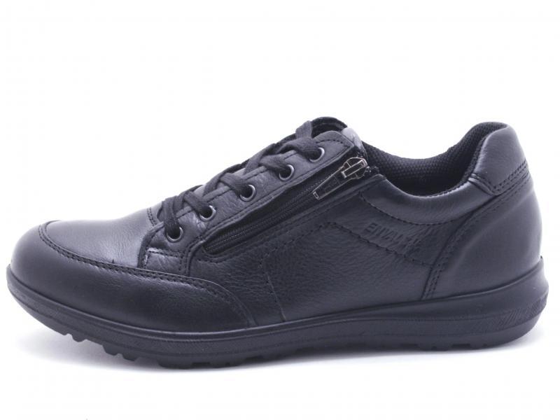 4227000 NERO Scarpa uomo Enval Soft sneaker pelle zip laterale made in Italy