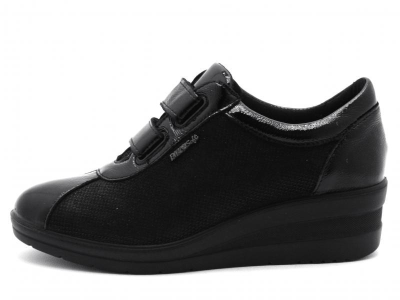 4269500 NERO Scarpa donna Enval Soft sneaker strappo pelle zeppa made in Italy