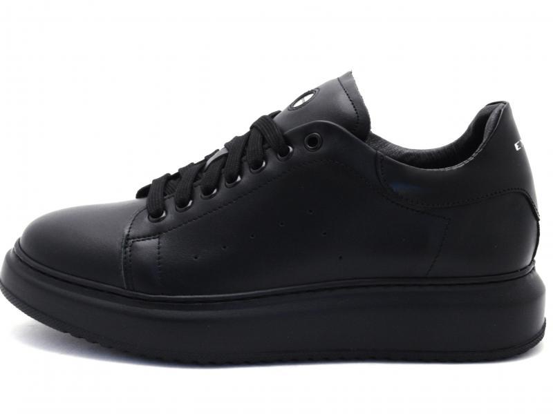 955 NERO Scarpa uomo Exton sneaker zeppa pelle made in Italy