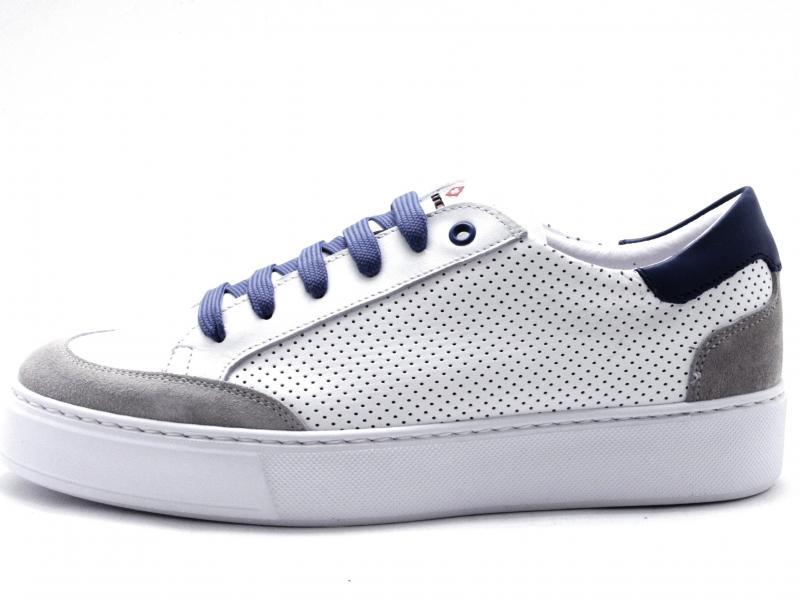 862 DENIM Scarpa uomo Exton sneaker pelle forata made in Italy fondo Ligth bianco/jeans