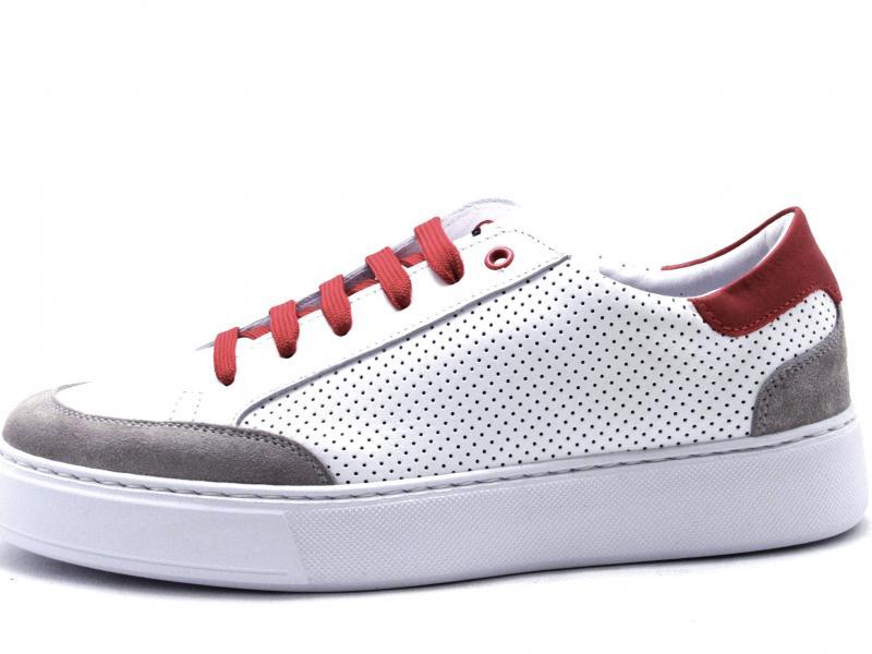 862 FIRE Scarpa uomo Exton sneaker pelle forata mede in Italy fondo light bianco/rosso