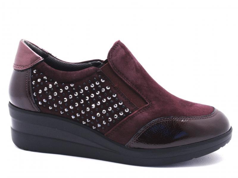 R25830 BORDO Scarpa donna Melluso sneaker slip-on pantofola zeppa pelle made in Italy
