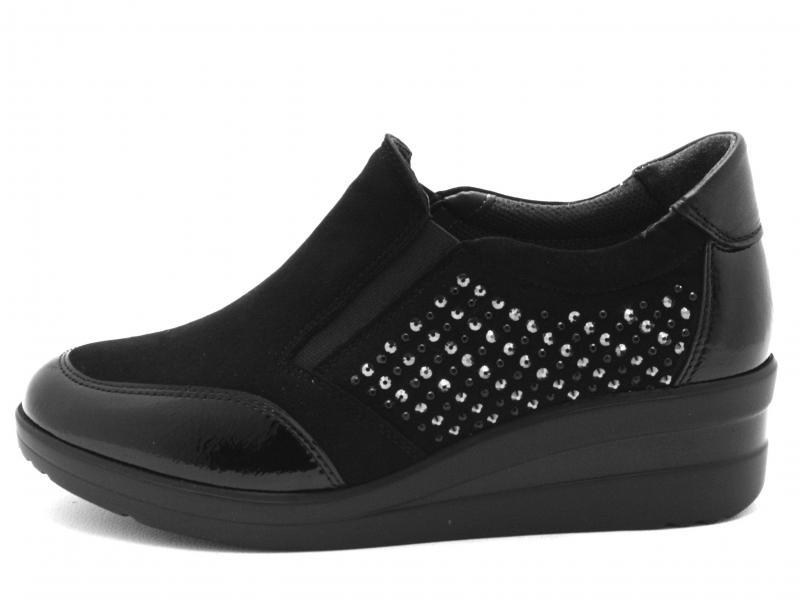 R25830 NERO Scarpa donna Melluso sneaker slip-on pantofola zeppa pelle made in Italy