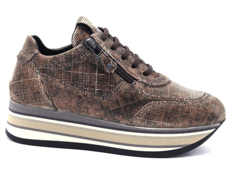 R25251 BRONZO Scarpa donna Melluso allacciata Walk Tecno sneaker tessuto made in Italy