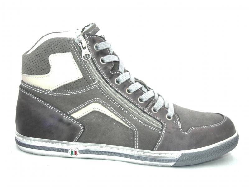 00871 FUMO Scarpa uomo Nero Giardini sneaker baskettone pelle made in Italy grigio