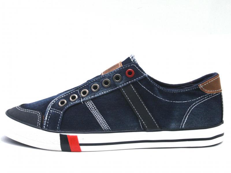 43995 NAVY Scarpa uomo Xti The Red Touch sneaker tessuto jeans  blu plantare memory