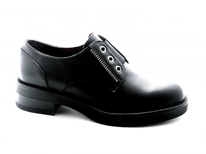 EA128 NERO Scarpa donna pelle Cafènoir derby slip-on vitello