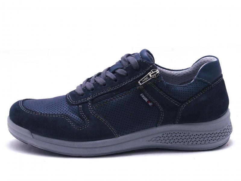 5233011 BLU Scarpa uomo Enval Soft allacciata sneaker pelle e tessuto made in Italy