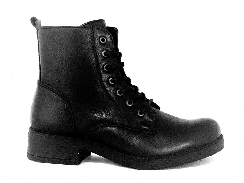 6159100 NERO scarpa donna Igi&Co tronchetto anfibio pelle made in Italy