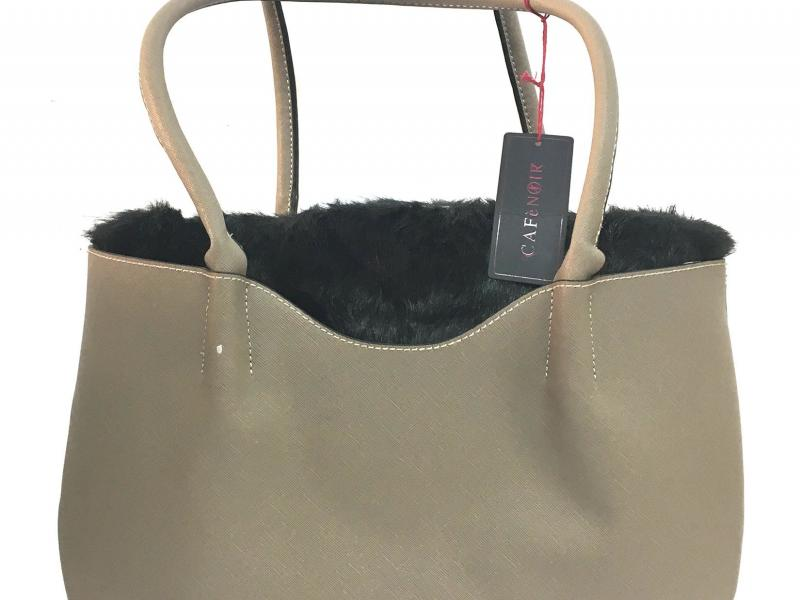 BK001 TAUPE Borsa donna CafèNoir shopping pelliccia