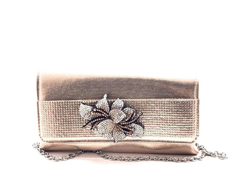8482438 Borsa donna Menbur bustina elegante oro rosa fiore strass catena argento