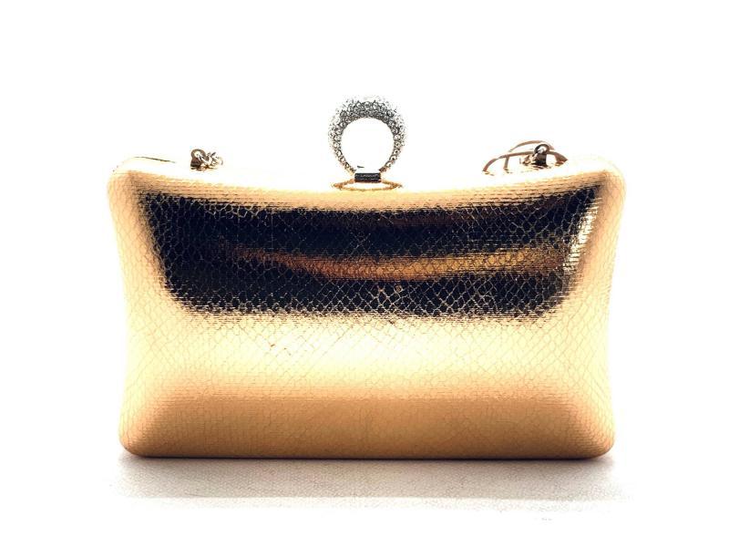8488638 Borsa donna Menbur bustina elegante oro rosa catena argento chiusura sclocco anello strass