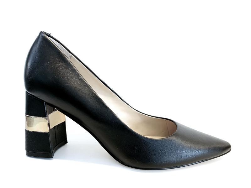 FL7MVE BLACK Scarpa donna tacco Guess decollete pelle nero plantare memory