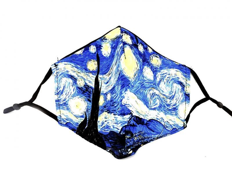 MASCHERINA LA NOTTE STELLATA Mascherina lavabile con filtro Forsei quadri dautore Van Gogh