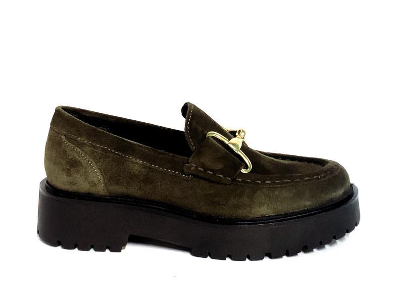 PQ7325177004 OLIVA Scarpa donna pelle Cinzia Soft  mocassino college verde accessorio oro