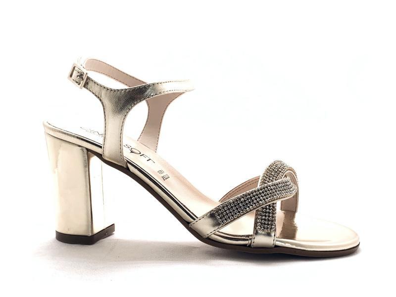 CG61607CNL003 PLATINO Scarpa donna tacco Cinzia Soft sandalo elegante