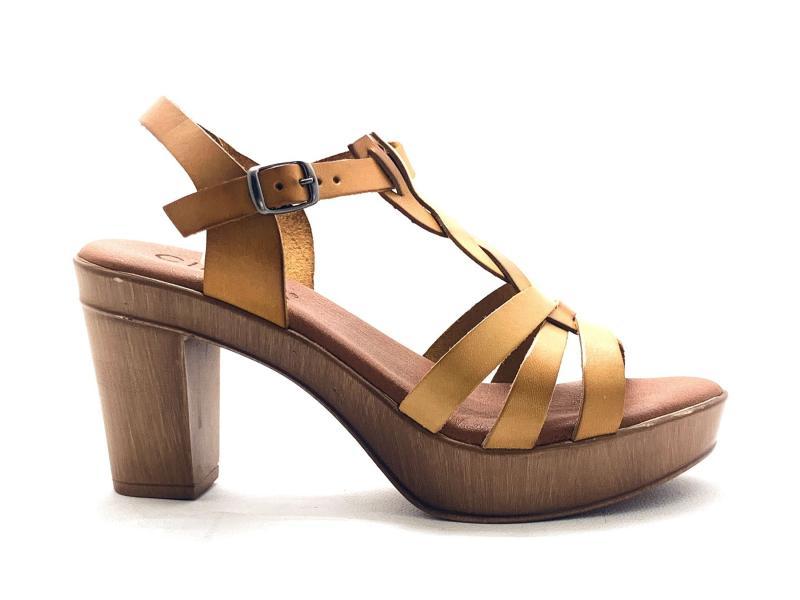 IEL115015001 MOSTAZA Scarpa donna tacco plateau Cinzia Soft sandalo pelle ocra