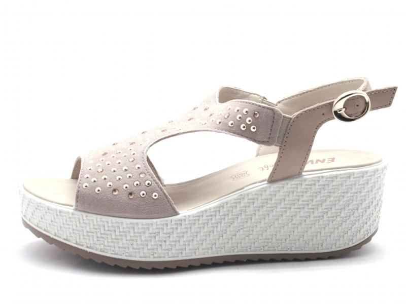 5284933 TAUPE Scarpa donna Enval  sandalo zeppa pelle made in Italy