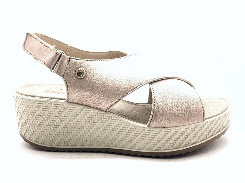 5284744 CHAMPAGNE Scarpa donna Enval Soft sandalo zeppa incrocio made in Italy