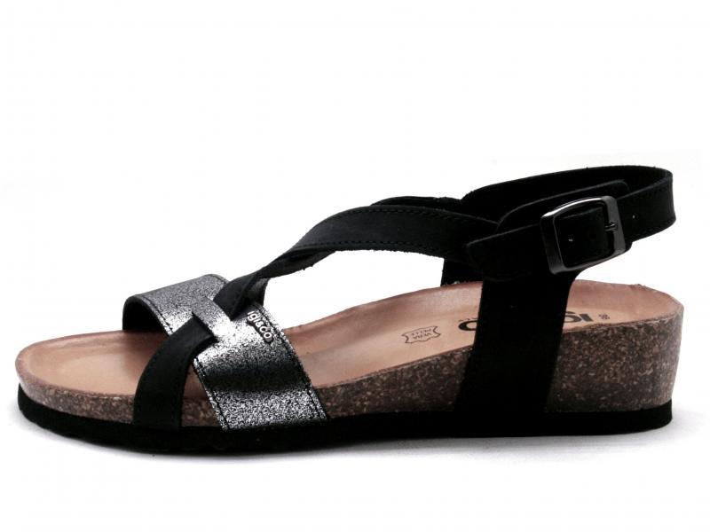 5198311 NERO Scarpa donna Igi&Co sandalo pelle fusbet anatomico made in Italy