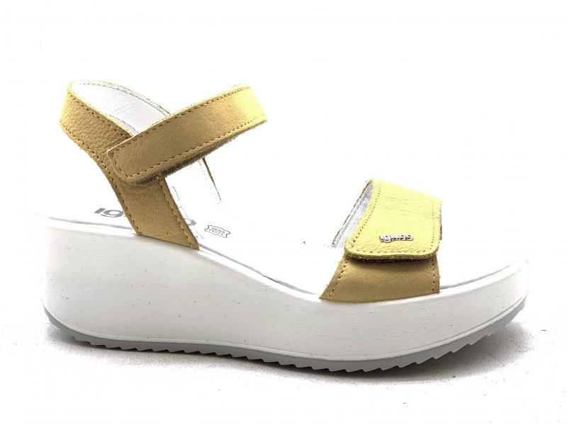 5178155 GIALLO Scarpa donna Igi&Co sandalo zeppa made in Italy con velcro
