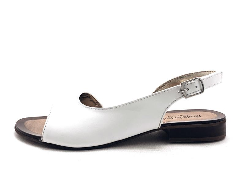 NERANO BIANCO Scarpa donna made in Italy sandalo spuntato asimmetrico tacco basso pelle