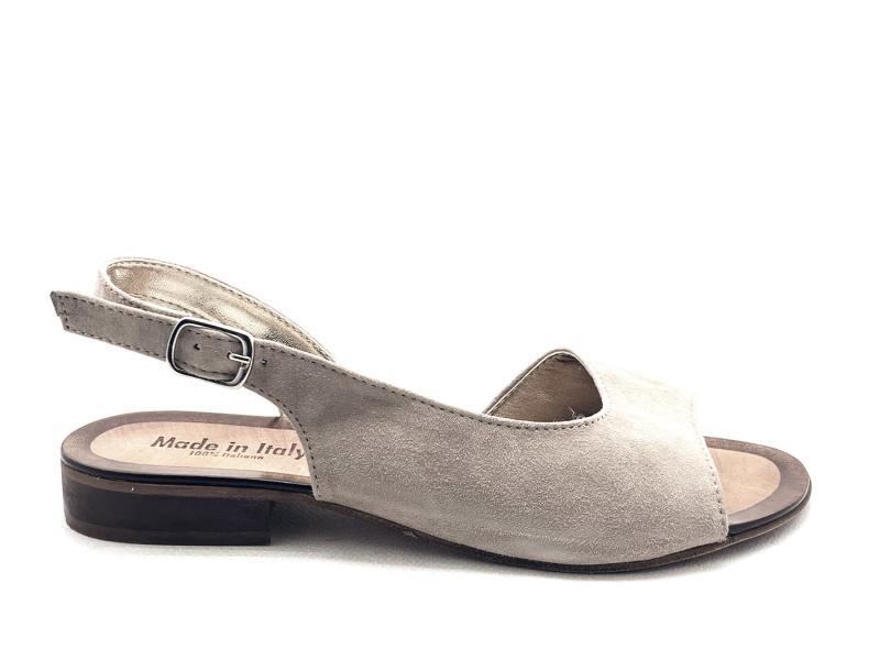 NERANO TAUPE Scarpa donna made in Italy sandalo spuntato asimmetrico pelle tacco basso