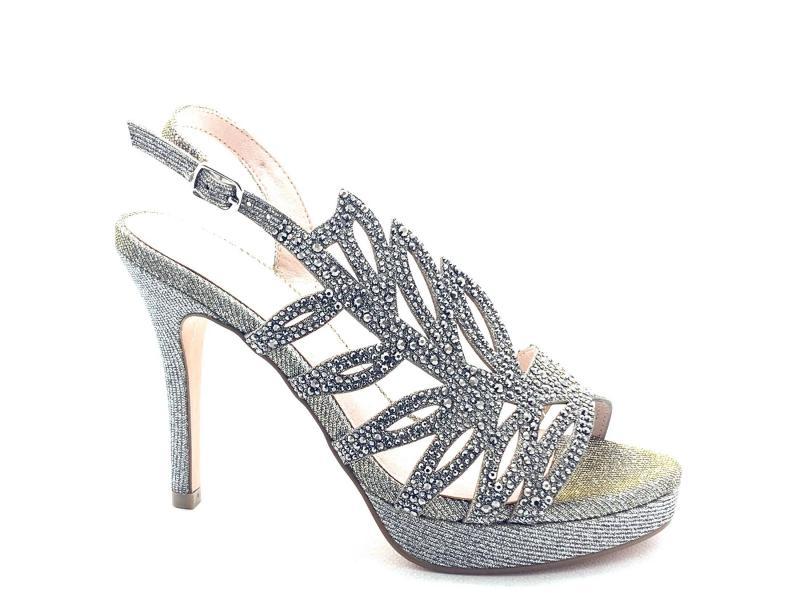 2139771 Scarpa donna tacco plateau Menbur sandalo elegante foglia laterale strass lurex