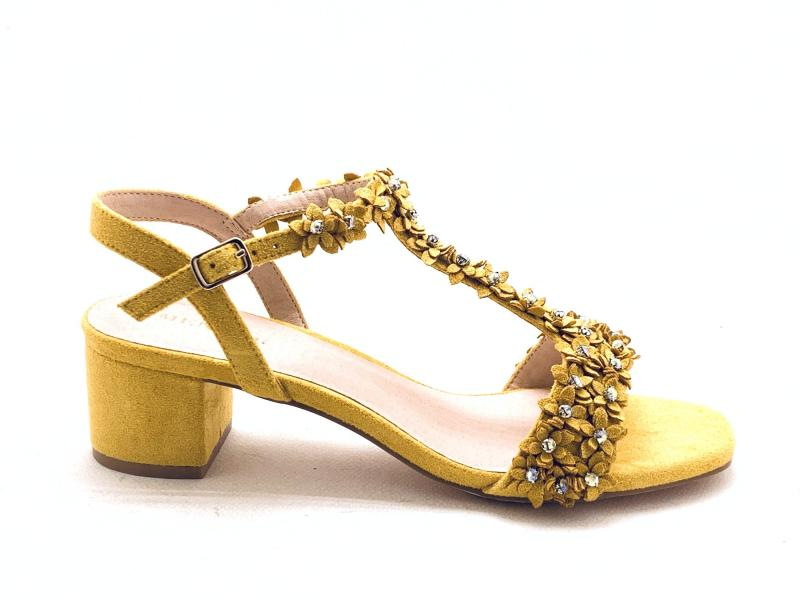 2170199 CURRY Scarpa donna Menbur tacco largo giallo fiori e strass plantare gel