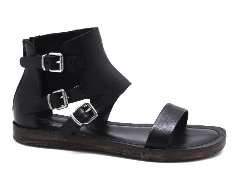 T0207 NERO Scarpa donna Rebecca White sandalo basso fibbie laterali pelle