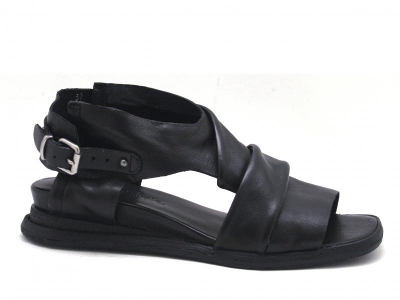 T0301 NERO Scarpa donna Rebecca White sandalo pelle zeppa bassa